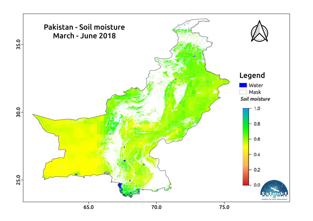 Moderate soil moisture over Pakistan: Agricultural growth on