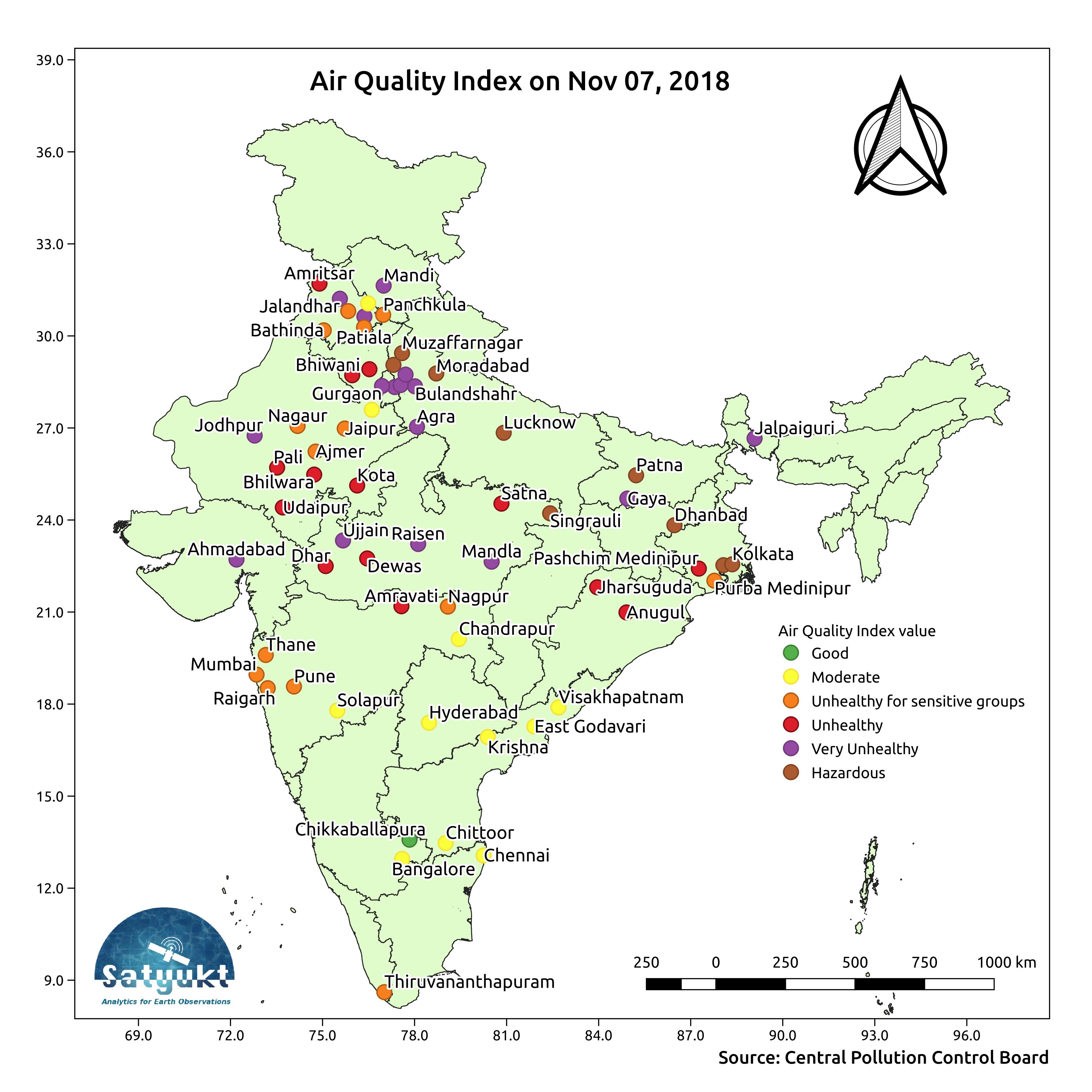 Air Quality Index (AQI) after Diwali is